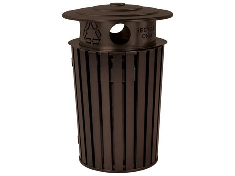 Tropitone District Round Steel Waste Receptacle with Recycling Hood