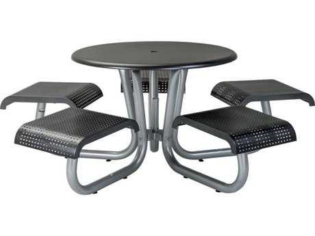 Tropitone District Aluminum 42''Wide Round Picnic Table with 5 Seats, Square Pattern