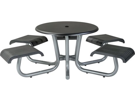 Tropitone District 42 Round Steel Dining Table with 5 Seats (ADA Compliant)