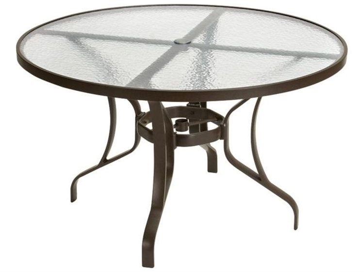 Tropitone Obscure Glass Cast Aluminum 48 Wide Round Dining Table With Umbrella Hole Tp500048gu