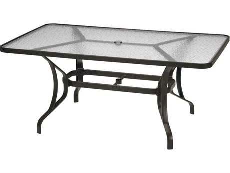 Tropitone Obscure Glass Cast Aluminum 66''W x 40''D Rectangular Dining Table with Umbrella Hole PatioLiving