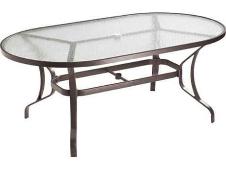 Tropitone Cast Aluminum 72 x 40 Oval Dining Table with Umbrella Hole