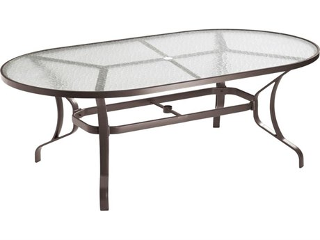 Tropitone Obscure Glass Cast Aluminum 84''W x 42''D Oval Dining Table with Umbrella Hole PatioLiving