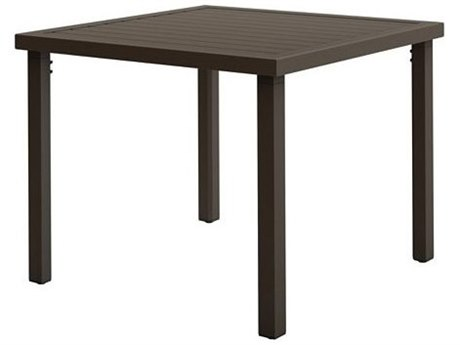 Tropitone Filo Aluminum 42''Wide Square KD Dining ADA Table with Umbrella Hole