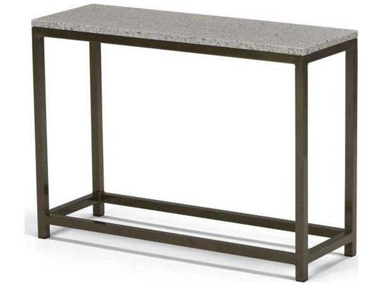 Tropitone Cabana Club Aluminum 34''W x 12''D Rectangular Granite Top Console Table PatioLiving