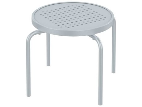 Tropitone Patterned Boulevard Aluminum 20''Wide Round Stacking Tea Table PatioLiving