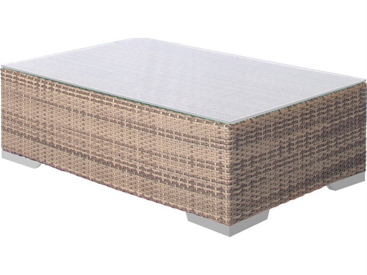 Tropitone Arzo Woven 41''W x 26''D Rectangular Frosted Acrylic Top Coffee Table PatioLiving