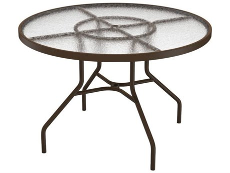 Tropitone Cast Aluminum 42 Round Dining Table with Umbrella Hole 42W x 42D x 27H