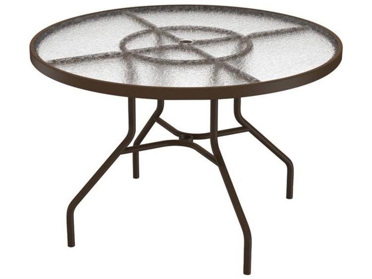 Tropitone Cast Aluminum 42 Round Dining Table With Umbrella Hole 42w X 42d 27h