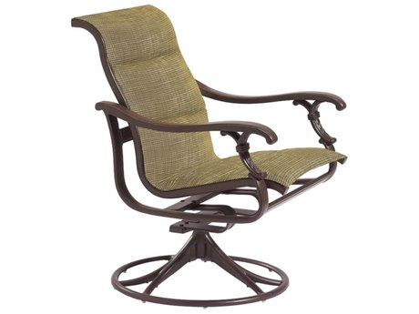 Tropitone Ravello Padded Sling Aluminum Swivel Rocker Dining Arm Chair