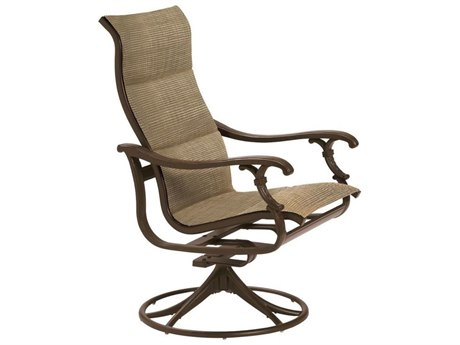 Tropitone Ravello Padded Sling Aluminum High Back Swivel Rocker Dining Arm Chair