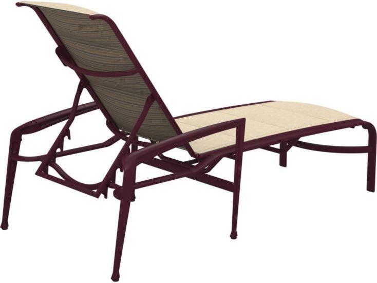 Tropitone veer padded sling aluminum chaise lounge for Aluminum strap chaise lounge