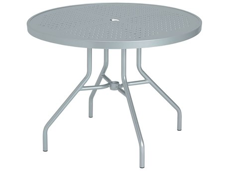 Tropitone Boulevard Aluminum 36 Round Metal Dining Table with Umbrella Hole 36W x 36D x 27H