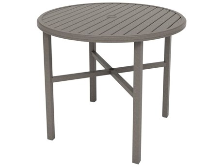 Tropitone Amici Aluminum 48''Wide Round KD Bar Table with Umbrella Hole