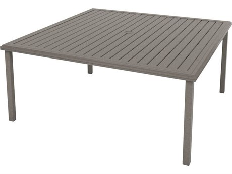 Tropitone Amici Aluminum 66''Wide Square KD Dining Table with Umbrella Hole