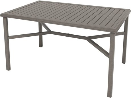 Tropitone Amici Aluminum 66''W x 42''D Rectangular KD Counter Table with Umbrella Hole