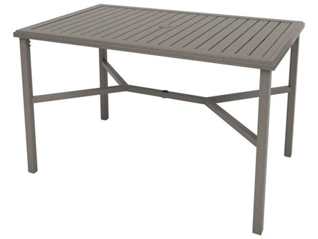 Tropitone Amici Aluminum 66''W x 42''D Rectangular KD Bar Table with Umbrella Hole