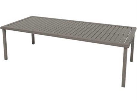 Tropitone Amici Aluminum 84''W x 42''D Rectangular Dining Table with Umbrella Hole
