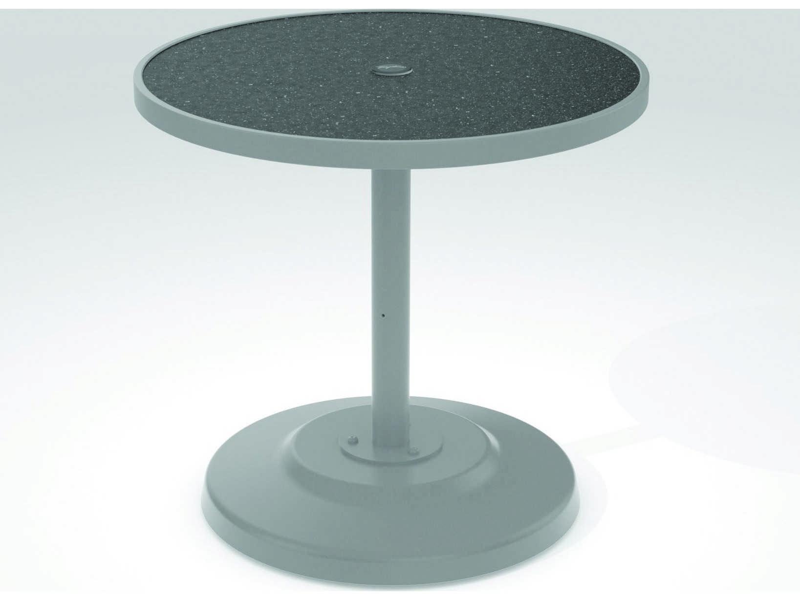 Tropitone Hpl Raduno Aluminum 30 Round Kd Pedestal Dining Umbrella Table Tp701441hu