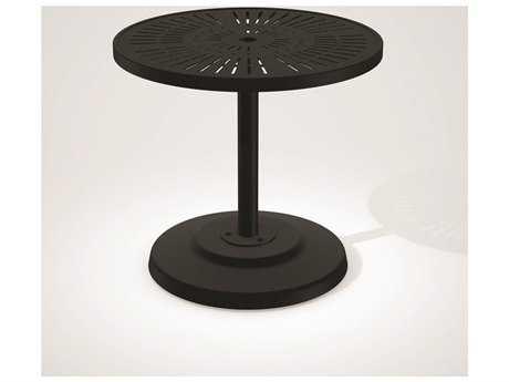 Tropitone La Stratta Aluminum 30''Wide Round KD Pedestal Dining Table with Umbrella Hole