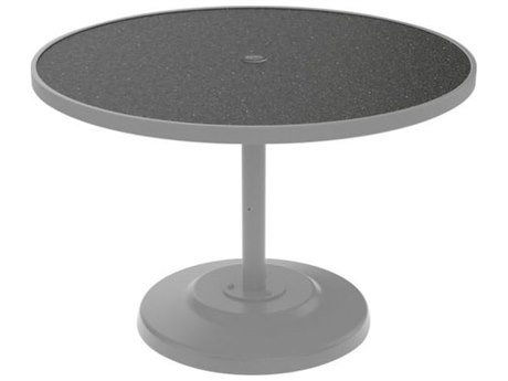 Tropitone Hpl Raduno Aluminum 42 Round KD Pedestal Dining Table with Umbrella Hole
