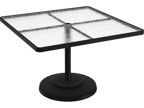 Tropitone Cast Aluminum 42 Square KD Pedestal Dining Umbrella Table