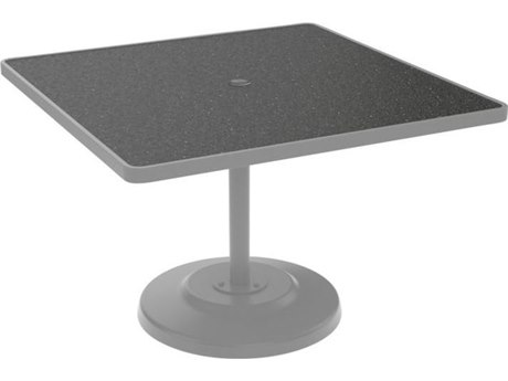 Tropitone Hpl Raduno Aluminum 42 Square KD Pedestal Table with Umbrella Hole