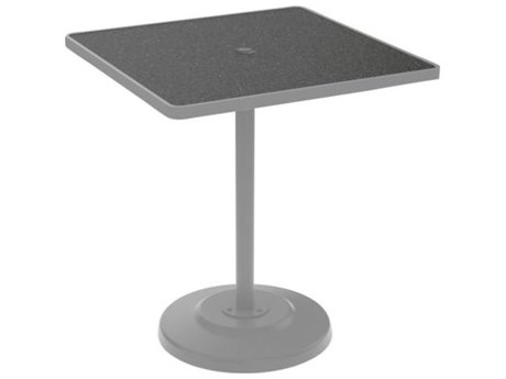 Tropitone Hpl Raduno Aluminum 36 Square KD Pedestal Dining Table with Umbrella Hole