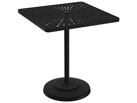 Tropitone La Stratta Aluminum 36''Wide Square KD Pedestal Bar Table with Umbrella Hole