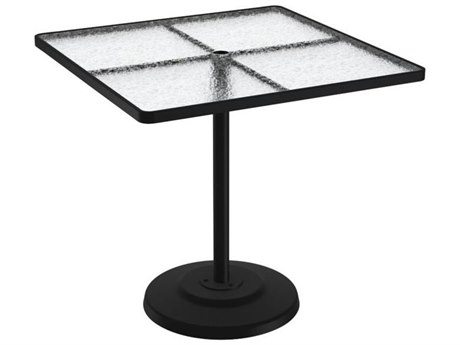 Tropitone Cast Aluminum 42 Square KD Pedestal Bar Umbrella Table