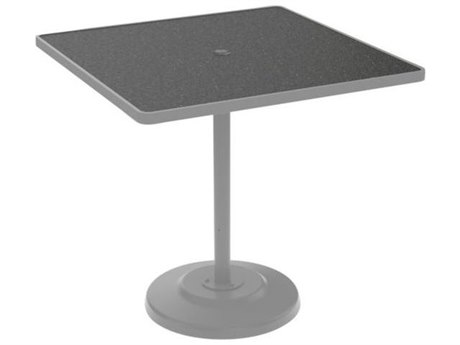 Tropitone Hpl Raduno Aluminum 42 Square KD Pedestal Bar Table with Umbrella Hole