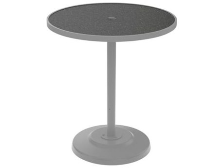 Tropitone Hpl Raduno Aluminum 36 Round Bar Table with Umbrella Hole