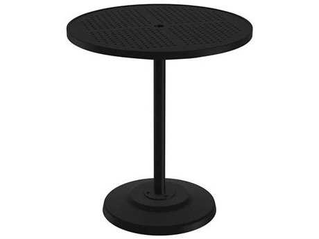 Tropitone Boulevard Aluminum 36 Round KD Pedestal Bar Umbrella Table with Umbrella Hole