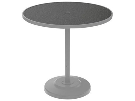 TTropitone Hpl Raduno Aluminum 42 Round KD Pedestal Bar Table with Umbrella Hole