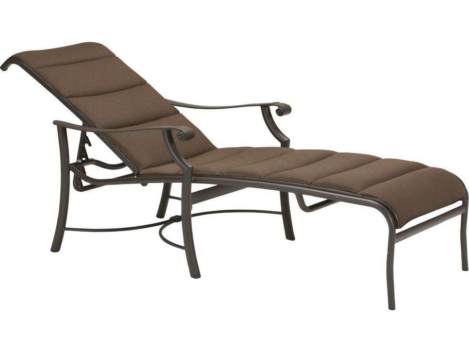 Tropitone montreux padded sling aluminum chaise lounge for Aluminum strap chaise lounge