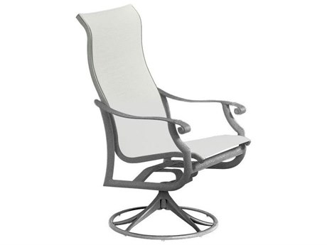 Tropitone Montreux Sling Aluminum High Back Swivel Rocker Dining Arm Chair