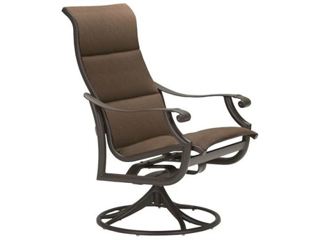 Tropitone Montreux Padded Sling Aluminum High Back Swivel Rocker Dining Arm Chair