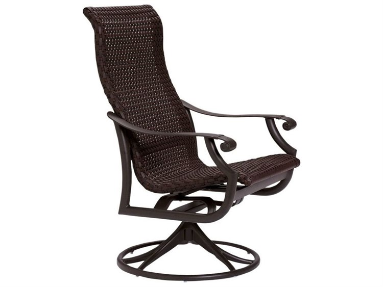 Tropitone Montreux Woven Swivel Rocker Dining Arm Chair PatioLiving