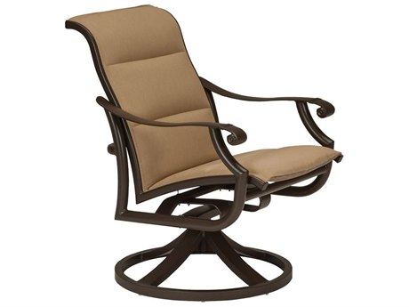 Tropitone Montreaux II Padded Sling Aluminum Swivel Rocker Dining Chair