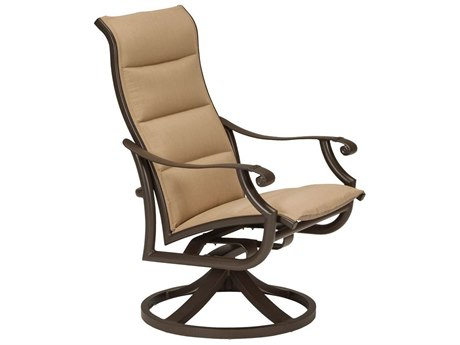Tropitone Montreaux II Padded Sling Aluminum High Back Dining Swivel Rocker