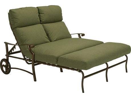 Tropitone Montreaux II Relaxplus Cushion Aluminum Double Chaise Lounge with Wheels PatioLiving