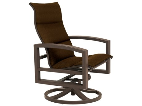 Tropitone Lakeside Padded Sling Aluminum Swivel Rocker Lounge Chair