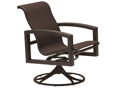 Tropitone Lakeside Sling Aluminum Swivel Rocker Dining Arm Chair
