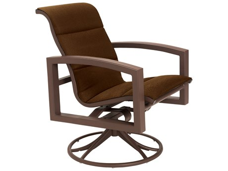 Tropitone Lakeside Padded Sling Aluminum Swivel Rocker Dining Arm Chair