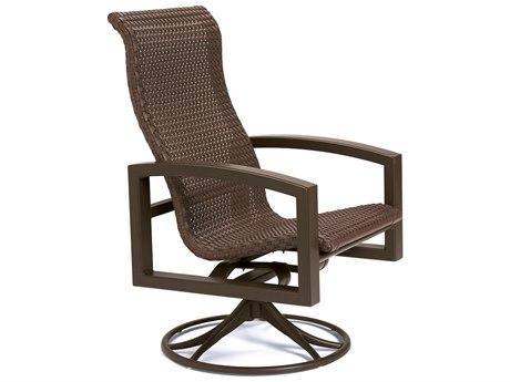 Tropitone Lakeside Woven Aluminum Swivel Rocker Dining Arm Chair