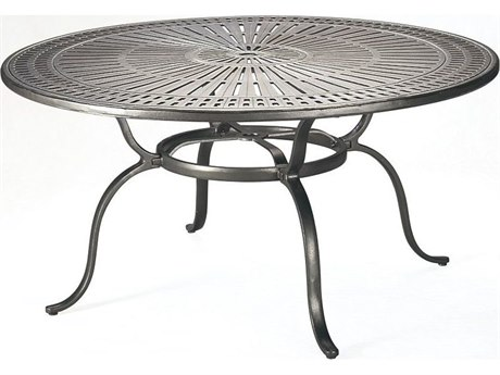Tropitone Kd Spectrum Cast Aluminum 49 Round Dining Table with Umbrella Hole