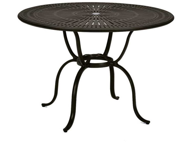 Tropitone Kd Spectrum Cast Aluminum 49 Round Counter Table with Umbrella Hole