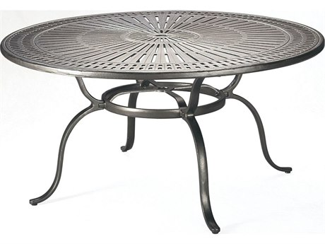 Tropitone Kd Spectrum Cast Aluminum 55 Round Dining Table with Umbrella Hole TP800154