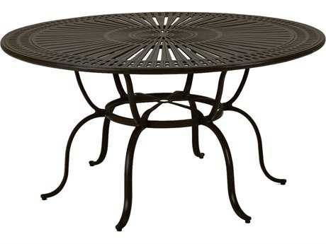 Tropitone Kd Spectrum Cast Aluminum 66 Round Dining Table with Umbrella Hole