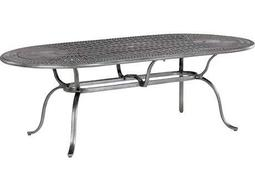 Kd Spectrum Cast Aluminum 85 x 43 Oval Dining Table with Umbrella Hole